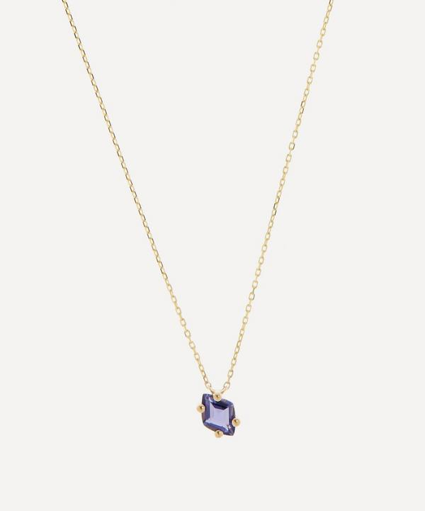 Suzanne Kalan - 14ct Gold Diamond Cut Iolite Pendant Necklace