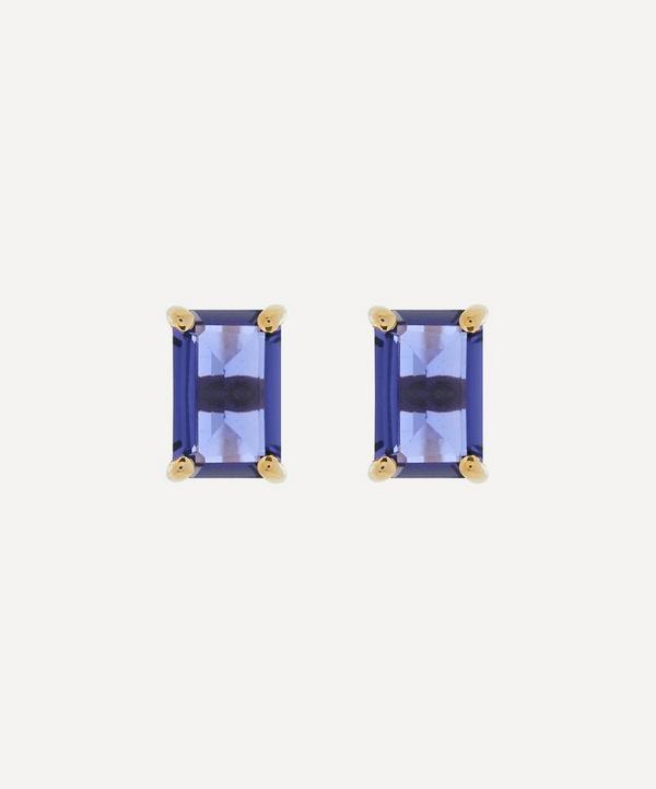 Suzanne Kalan - 14ct Gold Emerald Cut Iolite Stud Earrings