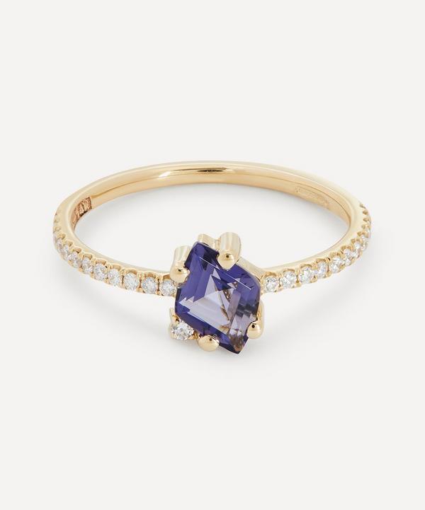 Suzanne Kalan - 14ct Gold Diamond Cut Iolite and Pavé Diamond Ring