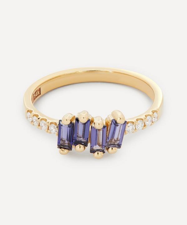 Suzanne Kalan - 14ct Gold Iolite and Pavé Diamond Fireworks Ring