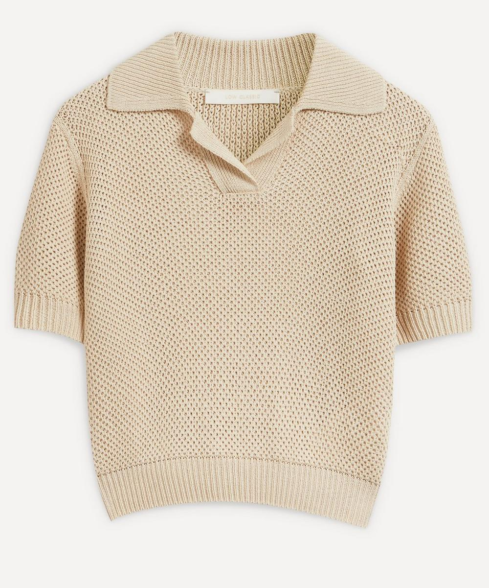 Low Classic Linens Ice Knit Polo Top