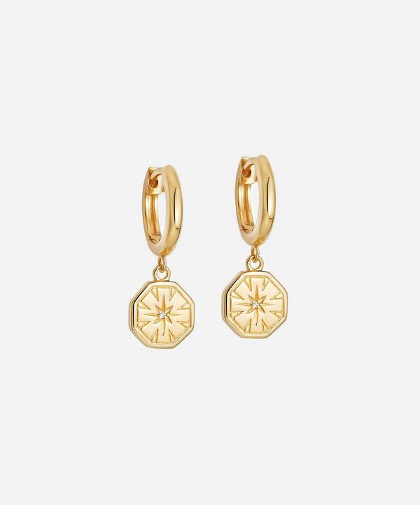 Astley Clarke - Gold Plated Vermeil Silver Celestial Dial White Sapphire Drop Hoop Earrings
