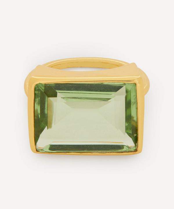 Shyla - Gold-Plated Lenny Glass Stone Cocktail Ring