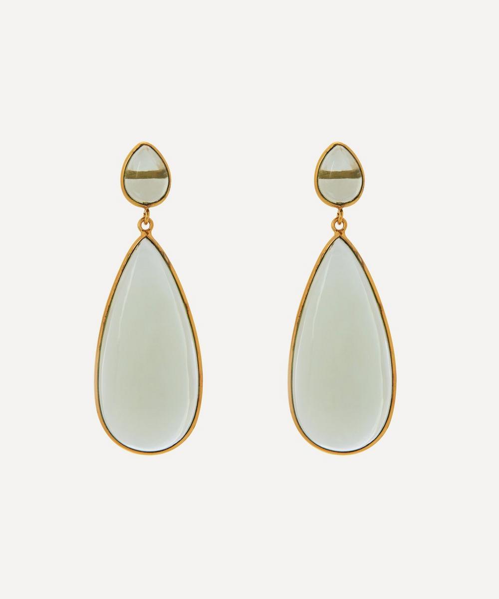 Shyla - Gold-Plated Nancy Glass Stone Drop Earrings