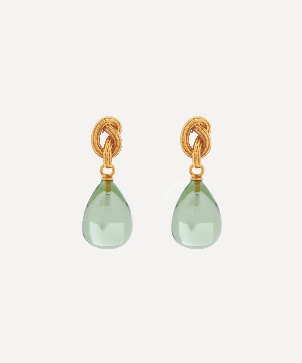 Shyla - Gold-Plated Synthea Glass Stone Drop Earrings