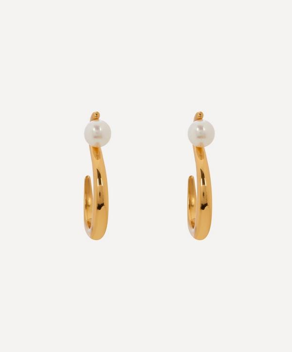 Shyla - Gold-Plated Celia Pearl Hoop Earrings