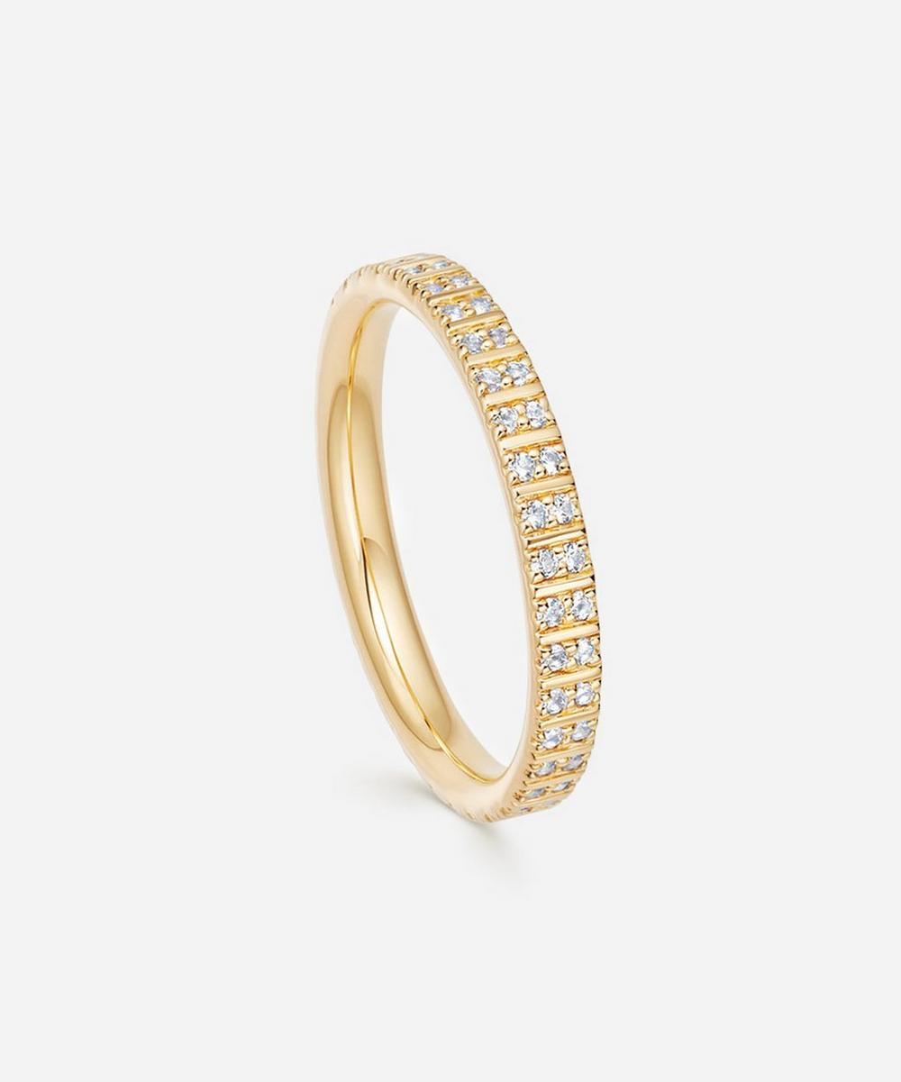 Astley Clarke - Gold Plated Vermeil Silver Celestial Astra White Sapphire Double Eternity Ring