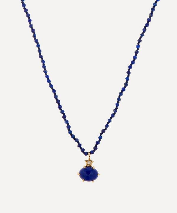 Andrea Fohrman - Mini Cosmo Lapis and Diamond Beaded Pendant Necklace