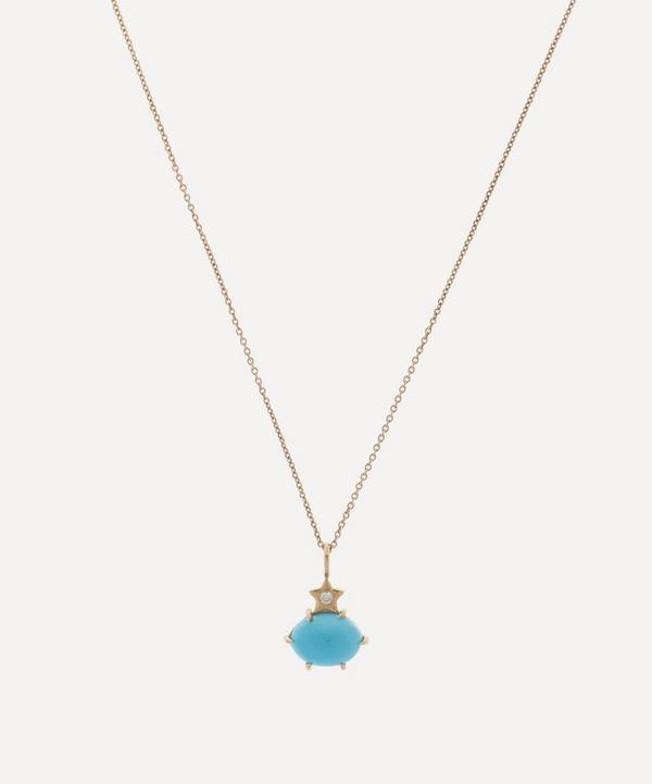 Andrea Fohrman - 14ct Gold Mini Cosmo Turquoise and Diamond Pendant Necklace