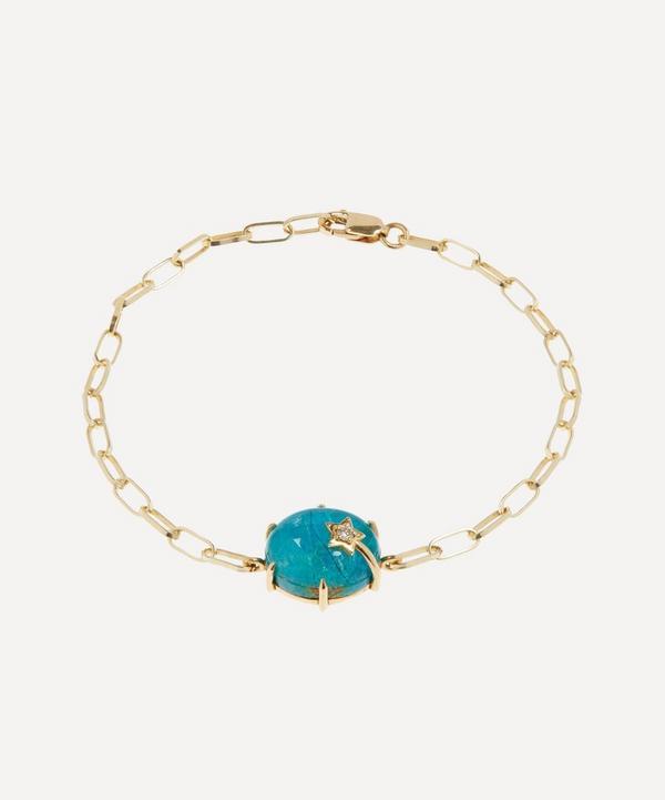 Andrea Fohrman - 14ct Gold Mini Galaxy Chrysocolla and Diamond Star Chain Bracelet