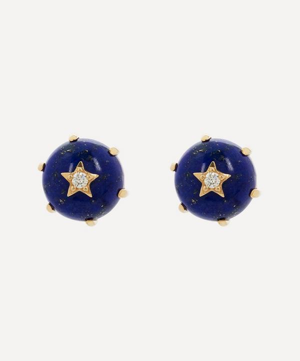 Andrea Fohrman - 14ct Gold Mini Cosmo Lapis and Diamond Stud Earrings