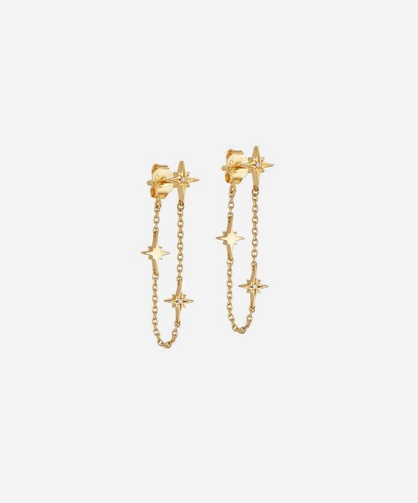 Astley Clarke - Gold Plated Vermeil Silver Celestial White Sapphire Chain Drop Earrings