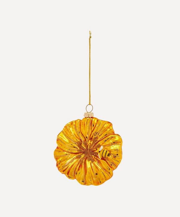 Unspecified - Glass Gold Petunia Bee Ornament