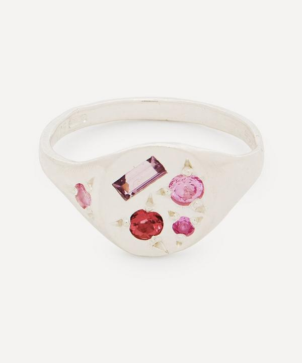 Seb Brown - Silver Neapolitan Pink Sapphire and Tourmaline Signet Ring