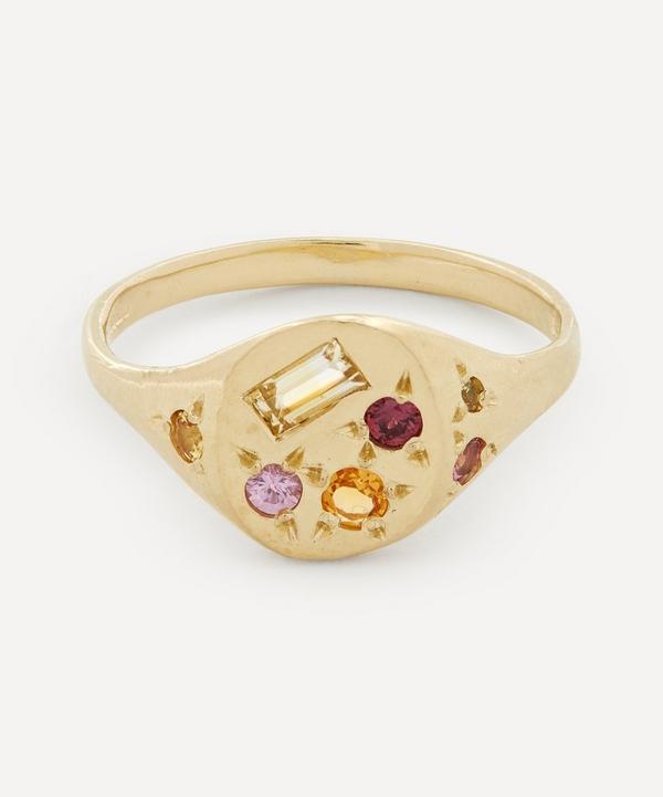 Seb Brown - Gold Neapolitan Orange Multi-Stone Signet Ring