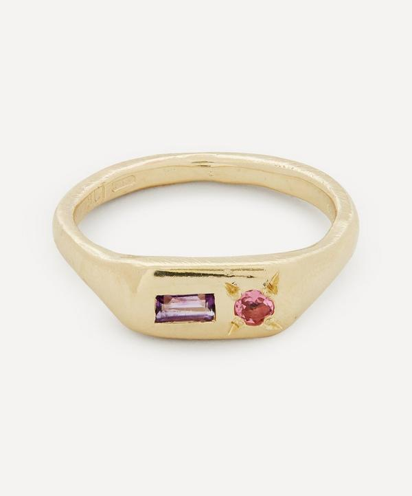 Seb Brown - 9ct Gold Purple Amethyst and Pink Sapphire Pill Signet Ring