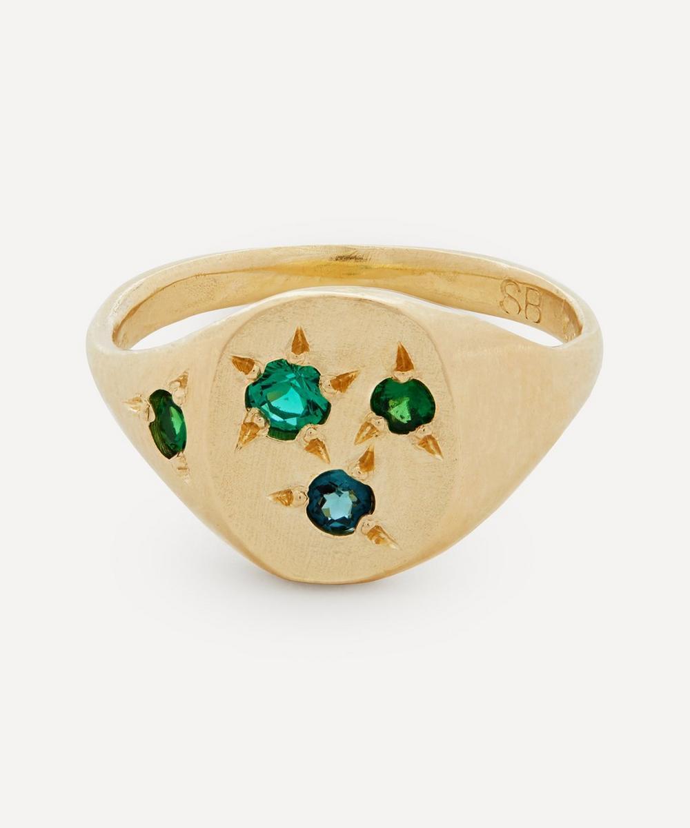 Seb Brown - 9ct Gold Neapolitan Green Multi-Stone Signet Ring