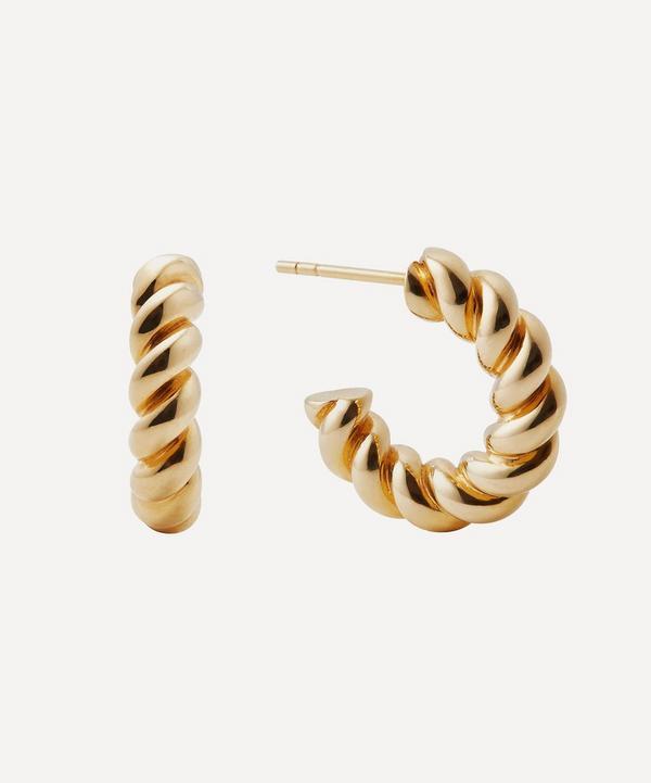 Otiumberg - 14ct Gold Plated Vermeil Silver Mini Chunky Twist Hoop Earrings