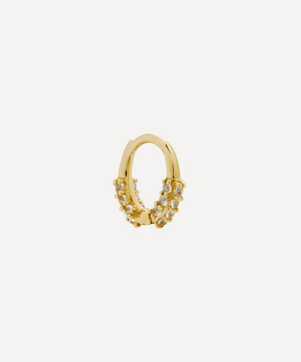 Otiumberg - 9ct Gold White Topaz Single Oval Huggie Hoop Earring