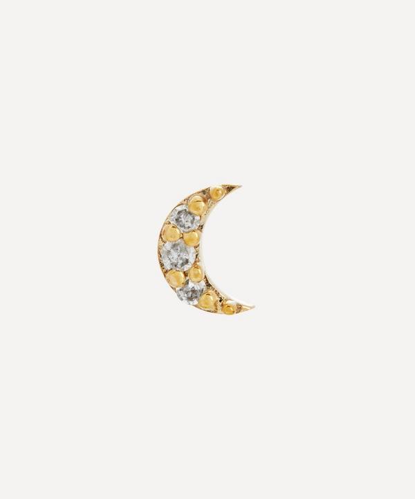 Otiumberg - 9ct Gold Diamond Moon Single Stud Earring