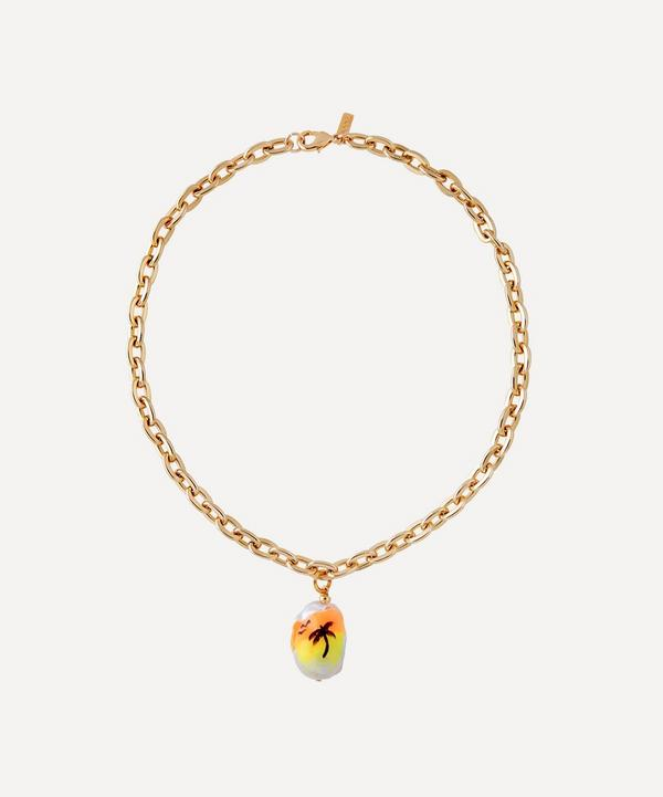 Martha Calvo - Gold-Plated Sunset Drive Painted Pearl Pendant Necklace
