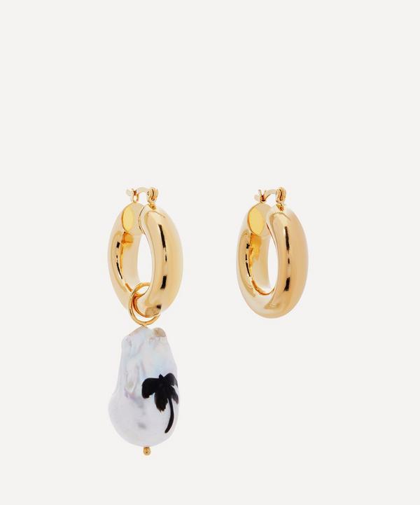 Martha Calvo - Gold-Plated Paradise Painted Pearl Hoop Earrings