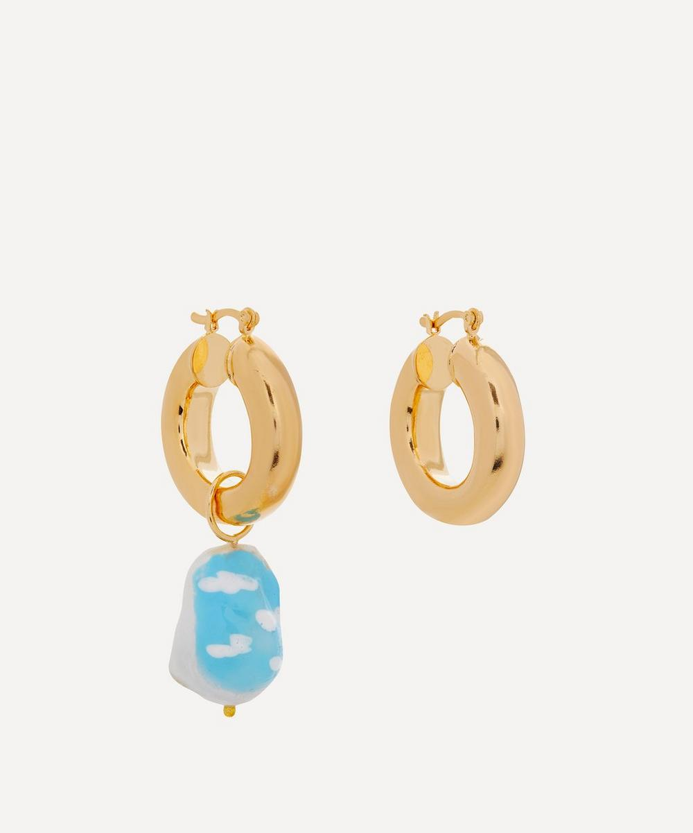 Martha Calvo - Gold-Plated Sky's The Limit Painted Pearl Hoop Earrings