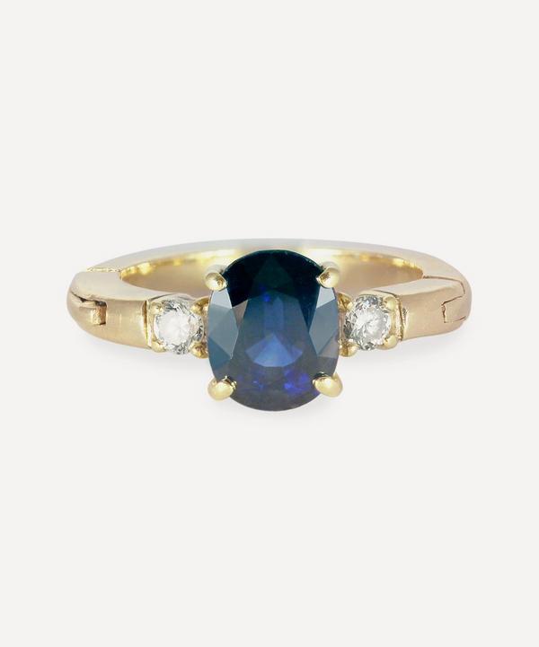 Kojis - 14ct Gold Sapphire and Diamond Three Stone Ring