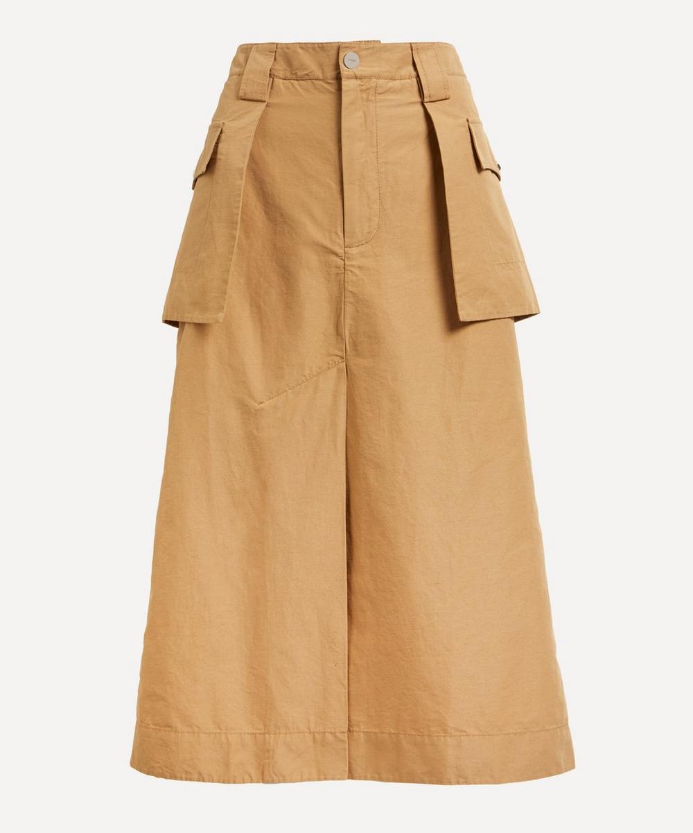 Ganni - Cotton-Linen Canvas Midi-Skirt