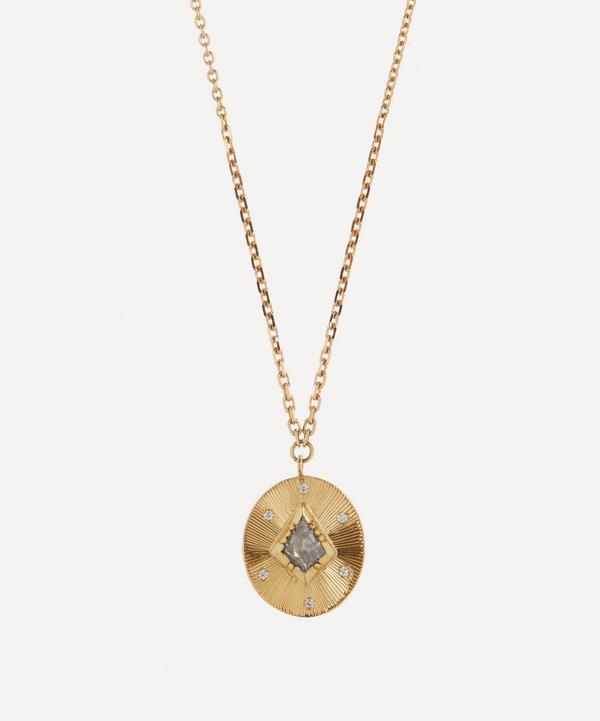 Brooke Gregson - 18ct Gold Engraved Starlight Diamond Pendant Necklace