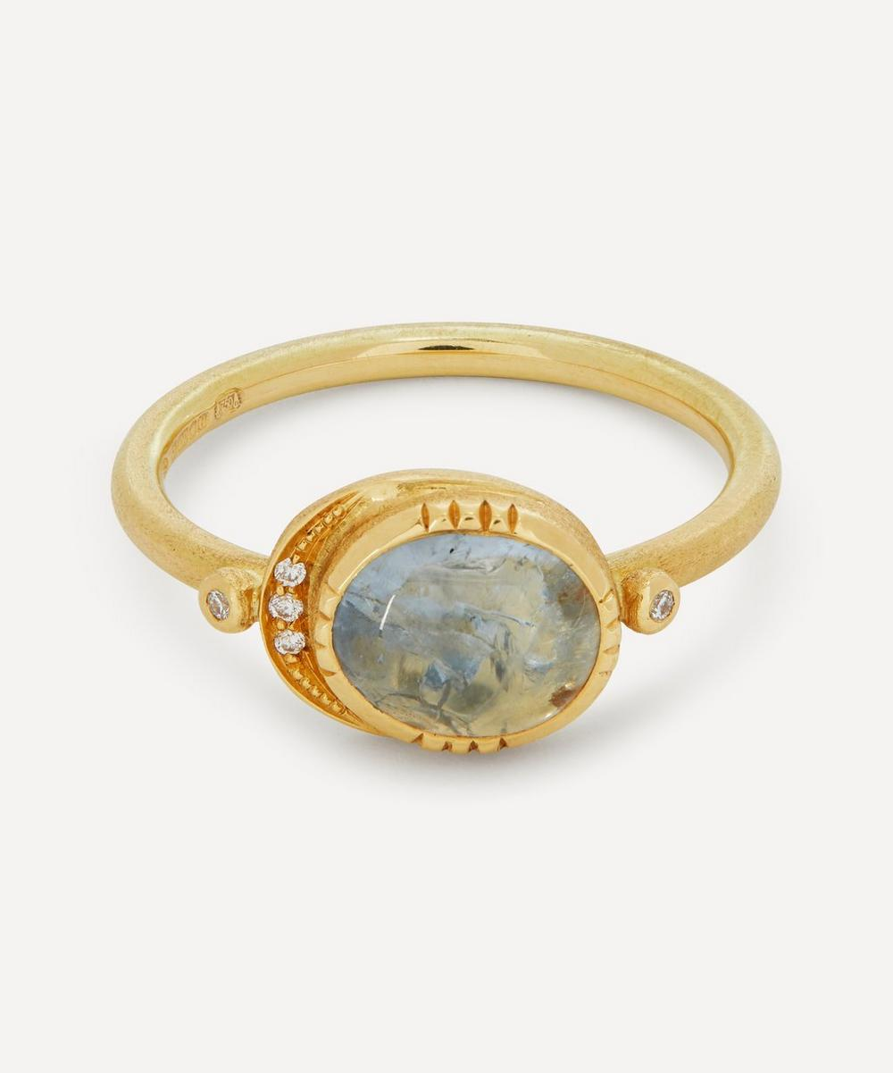Brooke Gregson - 18ct Gold Ellipse Grey Sapphire and Diamond Halo Ring