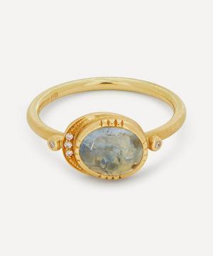 18ct Gold Ellipse Grey Sapphire and Diamond Halo Ring