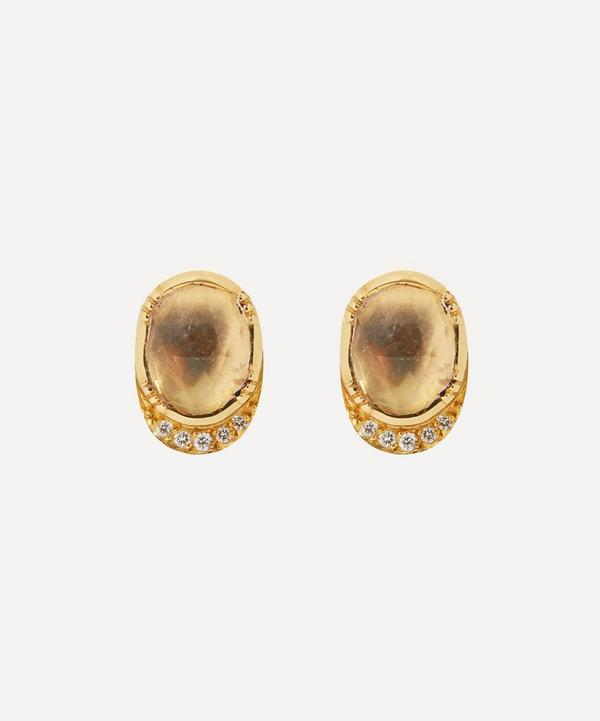 Brooke Gregson - 18ct Gold Orbit Morganite and Diamond Halo Stud Earrings