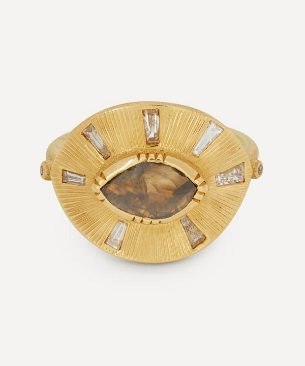 Brooke Gregson - 18ct Gold Talisman Engraved Starlight Diamond Ring