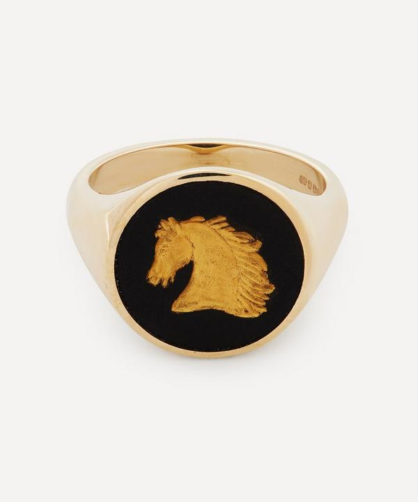 Ferian - 9ct Gold Wedgwood Horse Head Round Signet Ring