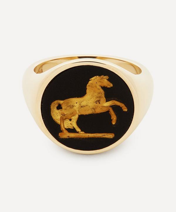 Ferian - 9ct Gold Wedgwood Prancing Horse Round Signet Ring