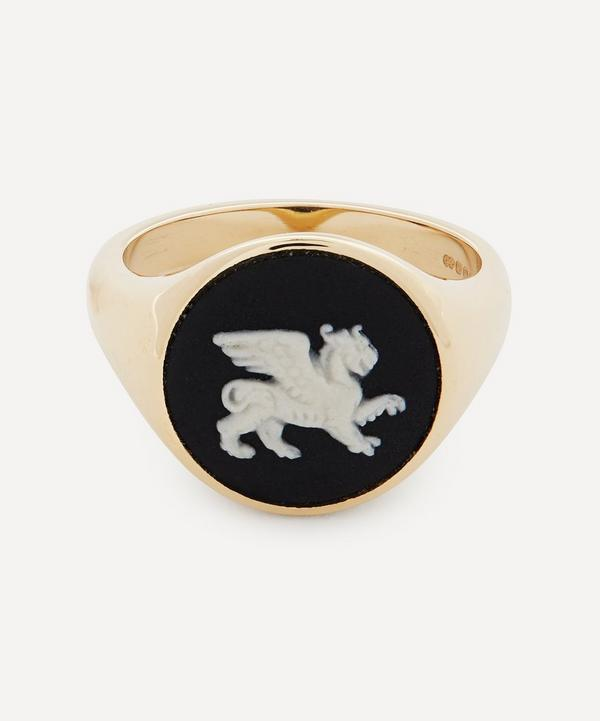 Ferian - 9ct Gold Wedgwood Griffin Round Signet Ring