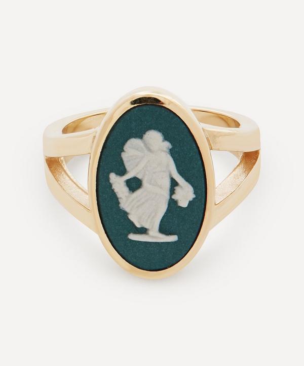 Ferian - 9ct Gold Wedgwood Dancing Hours Oval Split Signet Ring