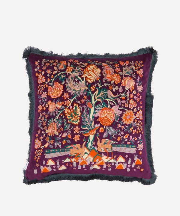 Liberty - Tree of Life Fringed Velvet Cushion