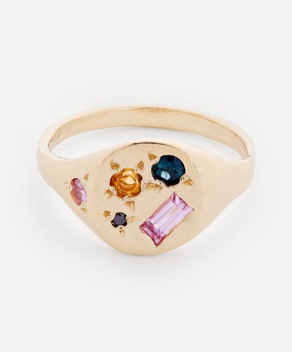 Seb Brown - 9ct Gold Neapolitan Teal Multi-Stone Signet Ring