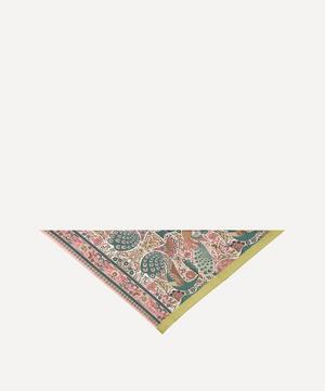 Peacock Garden Triangle Silk Twill Scarf