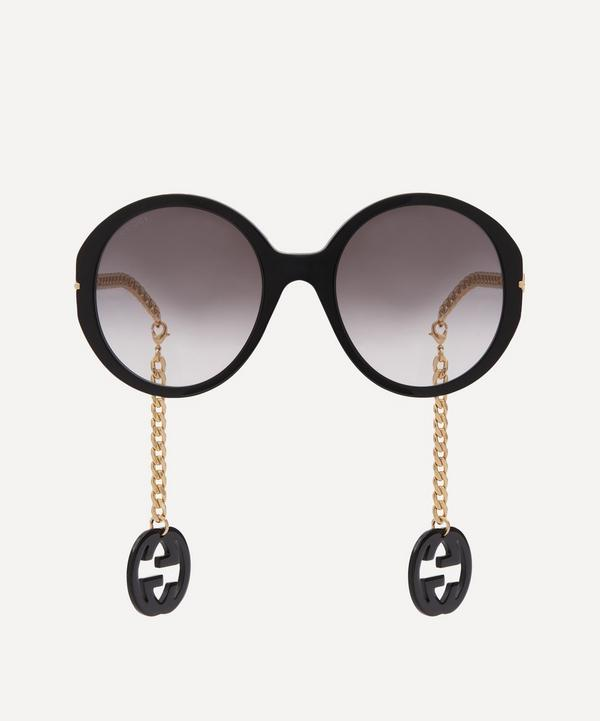 Gucci - Oversized Round Sunglasses with Logo Charms