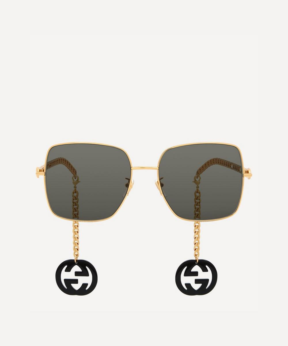 Gucci Square Metal Sunglasses With Logo Charms In Gold