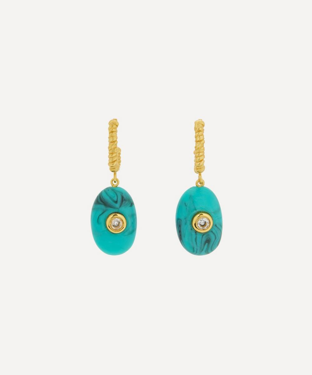 ANNI LU - Gold-Plated Pebble Beach Crystal and Resin Drop Hoop Earrings