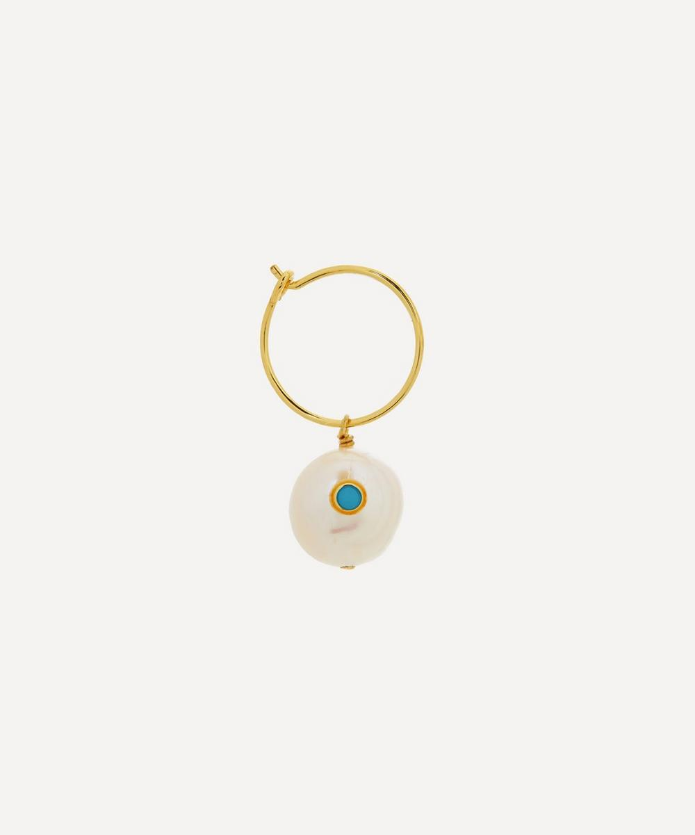 ANNI LU - Gold-Plated Pearl and Turquoise Single Hoop Earring