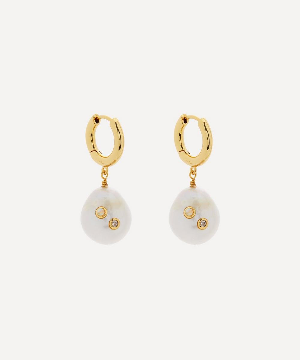 ANNI LU - Gold-Plated Gertrude Pearl Hoop Earrings