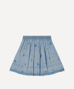 Floral Embroidered Denim Skirt 2-8 Years