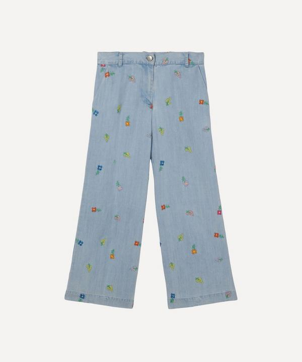 Stella McCartney Kids - Floral Embroidered Denim Trousers 2-8 Years