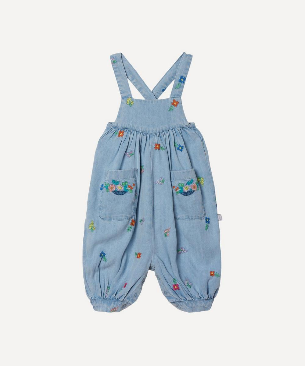 Stella McCartney Kids - Floral Embroidered Denim Dungarees 3 Months-3 Years