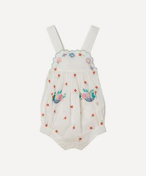 Floral Embroidered Cotton Romper 3 Months-3 Years